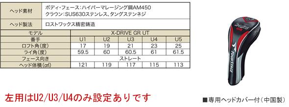 ブリヂストン ツアーステージ X-DRIVE GR 2012年モデル ユーティリティ - ジーワンゴルフ